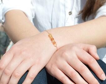 Citrine Bracelet, Danity Stacking Bracelet, 14k Gold Fill, Sterling Silver, Rose Gold, Yellow Bracelet, Citrine, Bar Bracelet, Gold Bracelet