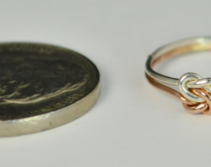 Dainty Silver and Rose Gold Double Knot Ring, Love Ring, Love Knot Ring, BFF Ring, Bridal Ring, Promise Ring, Mother Daughter Ring