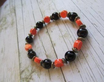 Orange And Black Bracelet, Halloween Bracelet, Fall Bracelet, Halloween Jewelry, Orange Bracelet, Black Bracelet, Halloween Accessory