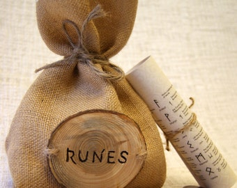 runes, viking runes, rune set, rune bag, wooden runes, wood runes, wood rune set, gift set, unique gift