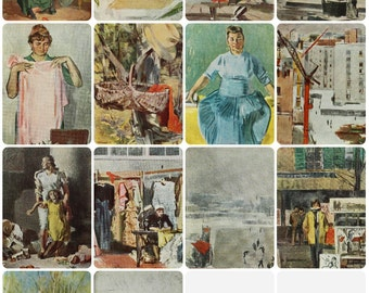 Artist Vasiliev Set of 12 Vintage Soviet Postcards - 1968. Sovetskiy hudozhnik. Nature, Girl, Portrait, City, People, Workshop, Women, Birch