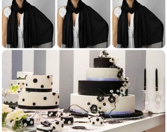Set of Three Black Shawls, Wedding Shawl, Black Pashmina, Bridal Wrap, Bridesmaid Shawl, Bridesmaid Gift, Solid Color Scarf, Wedding Wrap