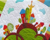Baby Quilt Pattern - Happy Houses - Applique Baby Quilt Pattern, Applique Quilt Pattern,  PDF Baby Quilt Pattern, PDF Applique Quilt Pattern