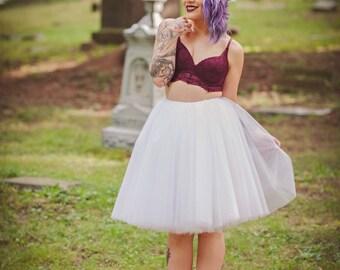 Tulle skirt, Adult Bachelorette Tutu, white tulle skirt, white tutu- halloween tutu, custom any length