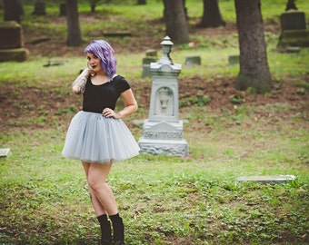 Silver tutu skirt -Halloween Tutu, adult tutu, silver adult tulle skirt