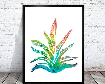 Succulent Plant 2 Watercolor Print, Succulent Plant art, Home Decor, Flower watercolor, Botanical art, Flower art, cactus art, kitchen decor
