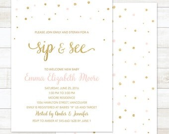 sip and see invitation, pink and gold sip and see invitation, sip n see invite, gold glitter confetti sip & see invitation printable digital