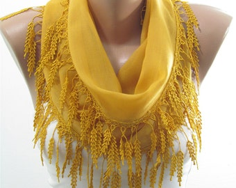 Soft Cotton Scarf Mustard Scarf Shawl Cowl Scarf with lace edge Women Fashion Accessories Holiday Christmas Gifts For Her Best Selling Items