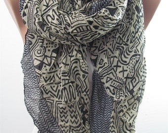 Tribal Scarf Aztec Scarf Fall Boho Scarf Shawl Women Cowl Scarf Southwestern Women Fashion Accessories Christmas Gifts For Her For Teens