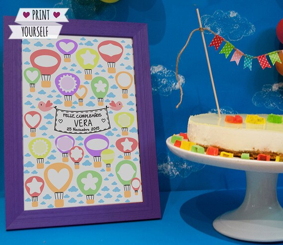 Hot Air Balloon Guest Book / Printable Pdf / Oh The Places