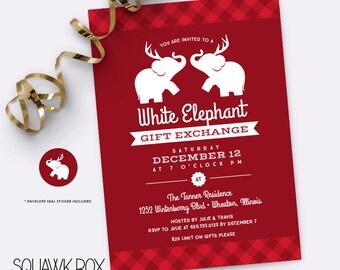 white elephant gift exchange  etsy, Party invitations
