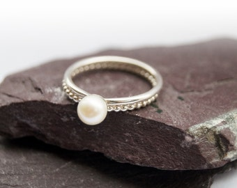 Freshwater Pearl & Beaded Duo ~ statement ring, stacking ring, gemstone, unique, pearl, wedding, bridesmaid, bands, solitaire