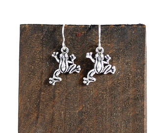 Frog Earrings; sterling silver, for her, gift idea, toad, amphibian, woodland, pond, reptile, spring, british wildlife, summer