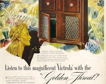 1946 RCA Victor Victrola Ad - 1940s Golden Throat Radio Sound - Wood Radio Cabinet - Midcentury Decorating Ideas - Vintage Music Ad