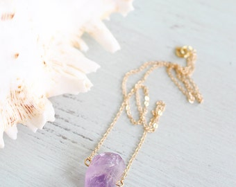 Amethyst Necklace - Small Light Amethyst Nugget Necklace - Tiny Crystal Necklace - Purple Gemstone Necklace - February Birthstone Necklace