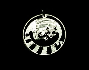 Ring Tailed Lemur from Madagascar hand cut coin pendant
