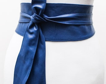 Royal Blue soft Leather Tulip tie Obi Belt | Waist Belt | Real Leather Belt| Bridesmaid Belt | Wrap Sash Belt | Petite to Plus Size Belts