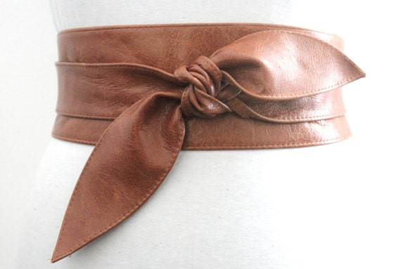 distressed brown leather obi belt tulip tie by loveyaayaa