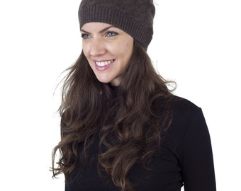 Fur Beanie. Cashmere with Merino Wool. Cashmere Brown Hat with Removable Fur Pom Pom,FREE SHIPPING in the USA - WHC327