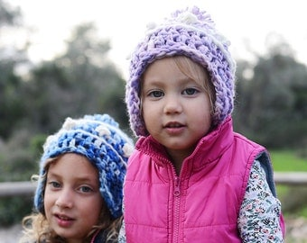 Wool Winter Hats for Toddlers and Kids , Crochet hats for kids.