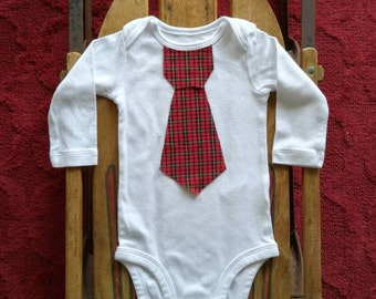 First Christmas Necktie Little Man Red and Green Plaid Bodysuit for Baby or Toddler Boy