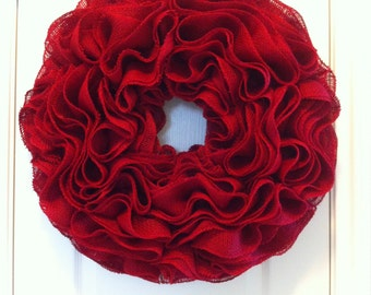 Extra-Full ROSE-STYLE Burlap Wreath ~ Everyday, Christmas, Valentines, Wedding~ Available in Other Colors!