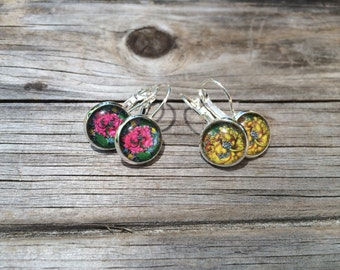 Yellow and Pink Floral Earrings, floral Earrings, Leverback Earrings, Set of 2 earrings, cabochon earrings