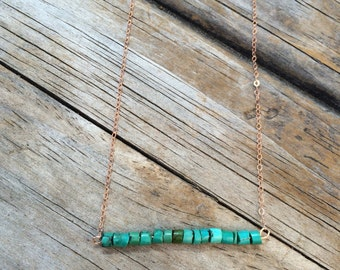 Delicate Smooth Turquoise Necklace, Turquoise Bar Necklace, 14k Rose gold necklace, Turquoise Gold Necklace, Smooth Beaded Turquoise Necklac