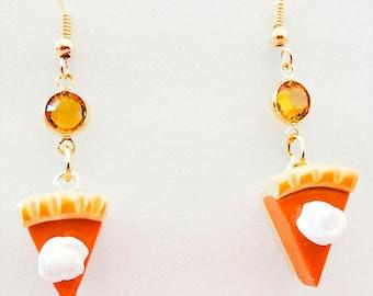 PUMPKIN PIE EARRINGS, pumpkin pie jewelry, Thanksgiving earrings, Thanksgiving jewelry, pumpkin charms, topaz crystal, pumpkin pie - 1104