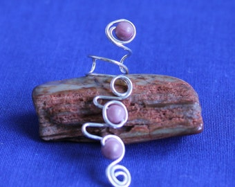 Sterling Earcuff with Rhodonite Gemstones
