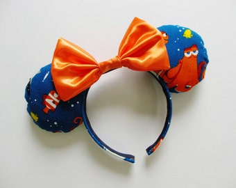 Finding Dory Characters Print Dark Blue Mouse Ears Headband