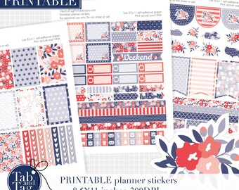 LARGE patriotic printable planner stickers for BIG MAMBI Happy planner. Mambi letter size 4th of July patriotic shabby chic three pack.