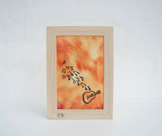 Guitar - Musical notes - Glass painting framed - Hand painted - Wall hanging - Home decor - Ocher - Music - Musicians - Ready To Ship