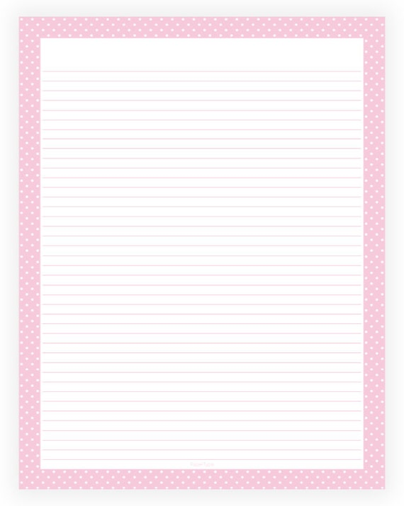Editable Lined Paper Pink and White Polka Dot Border