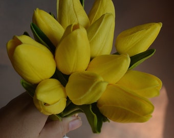 Centerpieces Yellow Mini Tulips Real Touch Flowers Silk Bridal Bouquets Wedding Flowers, 12pcs/bunch