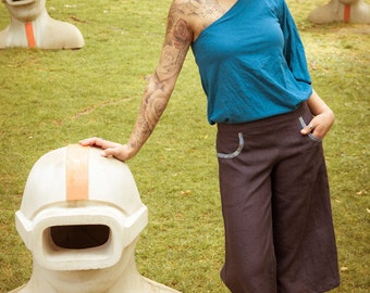 SALE -50%! grey Lime – cropped trousers made out of handloom linen - fair trade produced