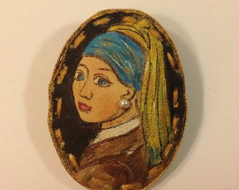 hand painted brooch pin wearable art textile brooch woman portrait brooch Vermeer painting fabric brooch stylish accessories altered art