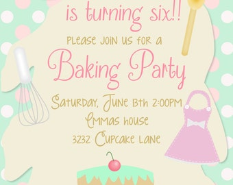 Baking Party Birthday invitation