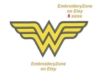designs Logo Wonder Woman APPLIQUE machine embroidery design. Instant Download. Five sizes. Wonderwoman Friend of Batman