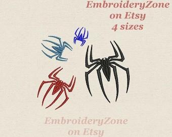 Spider logo of spiderman mini  Machine embroidery design. Simvol Super hero comics spiderman mini embroidery pattern.  4 Sizes Hoop 4x4