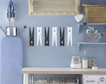 Jumbo Clothespins Laundry Room Set Of Six Wall Decal - Clothespins Laundry Wall Decal - Clothespin Vinyl Wall Decal