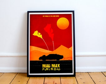 Mad Max Inspired Fury Road Minimalist Poster Print - Wall Art - Tom Hardy (Available In Many Sizes)