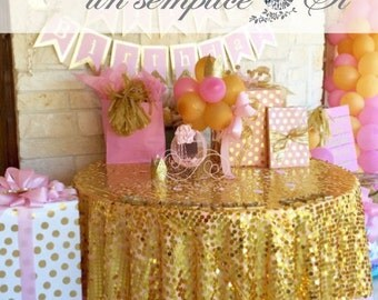 Round Sequin Tablecloth, Sequin Overlay, Sequin Table Linens  LARGEST COLOR SELECTION