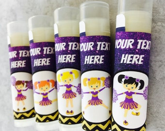 Cheerleading Gift/Set of 5/Cheerleader Party/Cheer Team Party/Cheerleading Chapstick/Cheerleader Favors/Cheerleader Competition