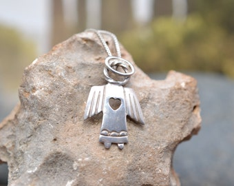 Sterling Silver Heart Angel Pendant on 16 inch Sterling Silver Box Chain