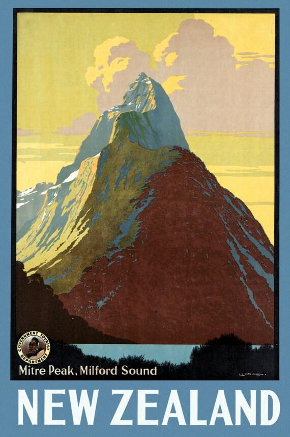 New Zealand Mitre Peak Poster