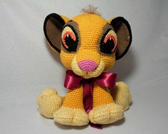 "Amigurumi Lion Cub- 14"" Crochet Baby Simba  - Adorable Crochet Baby Lion"