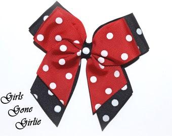 Minnie Mouse Bow , Minnie Mouse Hair Bow , Toddler Minnie Mouse Hairbow , Red Minnie Mouse Bow , Red and Black Polka Dot Hair Bow Hair Clip