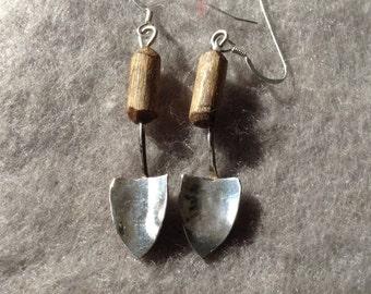 Sterling Silver Trowel Earrings, Silver Shovel Earrings, Garden Jewellery, Wood and Silver, Botanical Work Earrings, Miniature Silver Shovel