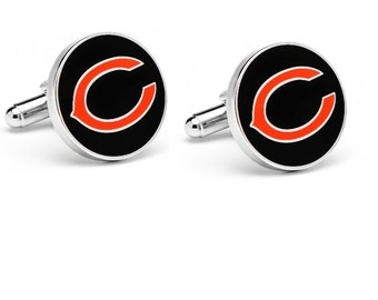 Chicago Bears style Cufflinks Cuff Links Best man Groomsmen Wedding Gift Father's Day Graduation Dad Birthday Football